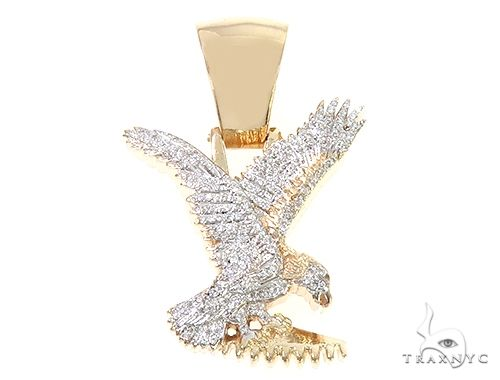 14K Gold Micro Pave Diamond Eagle Charm Pendant 63941 Metal