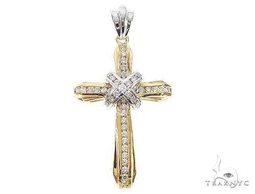 14k Two Tone Designer DX Cross 65488 Diamond