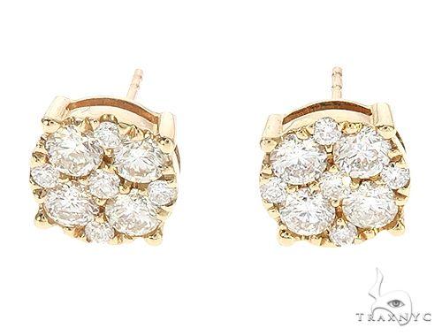 14K Yellow Gold Cluster Stud Earrings 65490 Metal