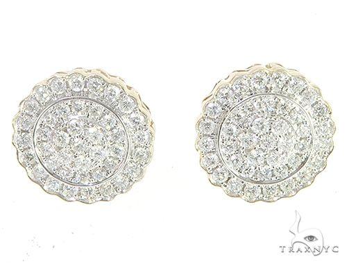 14K Yellow Gold Cluster Stud Diamond Earrings 65504 Stone