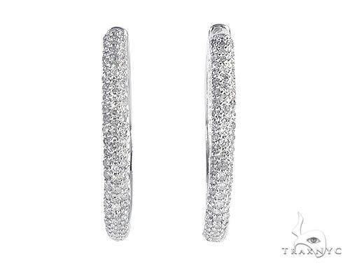 14K White Gold Diamond Hoop Earrings 65508 Style