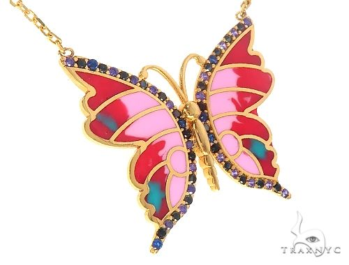14K Yellow Gold Butterfly Enamel Multy Colored Necklace 65511 Gemstone