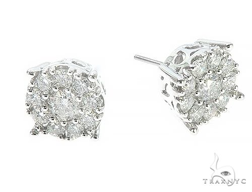 14K White Gold Diamond Cluster Stud Earrings 65522 Stone