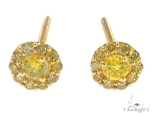 10K Yellow Gold Canary Earrings 65532 Stone