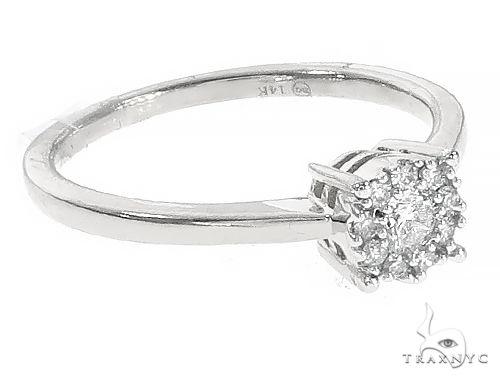 14K White Gold Diamond Fleur Head Engagement Ring Engagement
