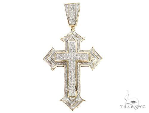 10k Yellow Gold Diamond Spartan Cross 65536 Diamond