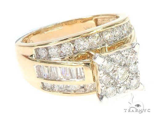 14K Yellow Gold Diamond Square Head Cluster Ring 65537 Anniversary/Fashion