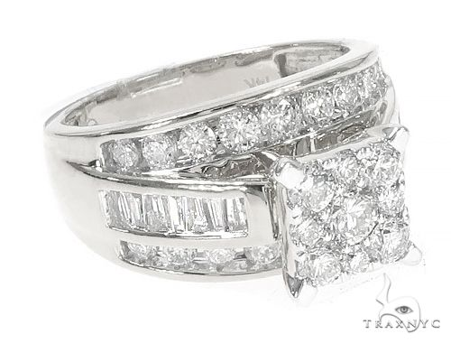 14K White Gold Diamond Square Head Cluster Ring  65538 Anniversary/Fashion