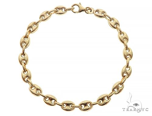 10K Yellow Gold Puffed Gucci Link Bracelet 8 Inches 6mm 7.40 Grams 65547 Gold