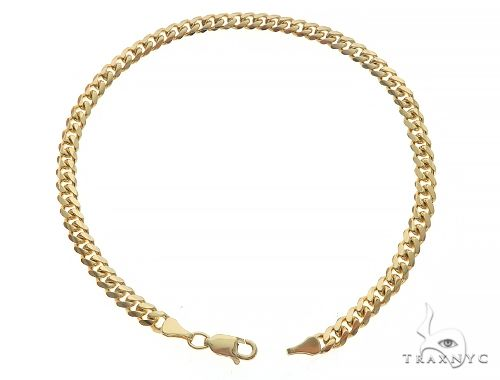 14K Yellow Gold Solid Miami Cuban Link Bracelet 8 Inches 4 mm 8.7 Grams 65585 Gold