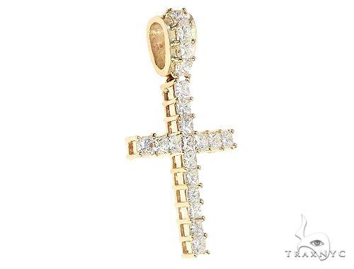 14K Yellow Gold Princess Cut Diamond Manhattan Cross 65598 Diamond