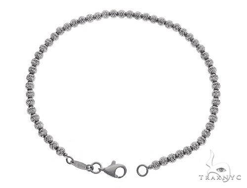 10K WG Laser Moon Cut Anklet 10 Inches 3mm 5.8 Grams 65601 Gold