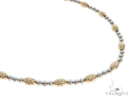 14K Two Tone Gold Moon Cut Chain 28 Inches 3.5 mm 18.00 Grams 65624 Gold