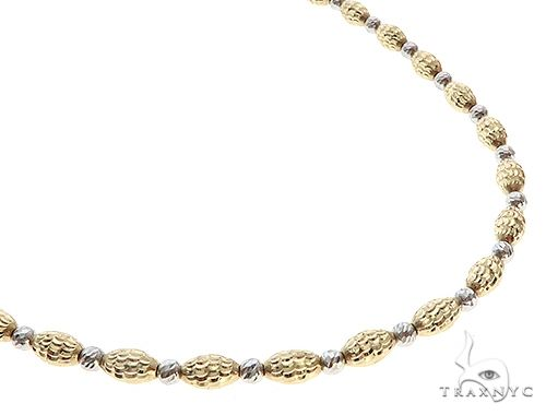 14K Two Tone Gold Moon Cut Chain 22 Inches 3.5 mm 15.00 Grams 65634 Gold