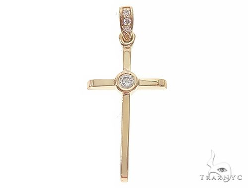 14K Yellow Gold Bazel Cross 65663 Gold Cross Pendant