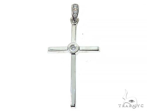 14K White Gold Bazel Cross 65664 Gold Cross Pendant