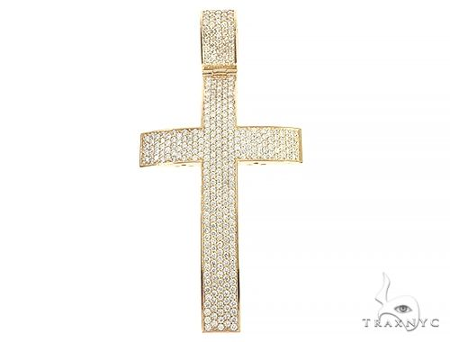 14K Yellow Gold Diamond Large Cross 65665 Diamond