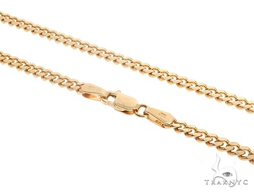 14K Yellow Gold Solid Thin Miami Cuban Link Chain 28 Inches 3.3mm 24.3 Grams K-31 65678 Gold