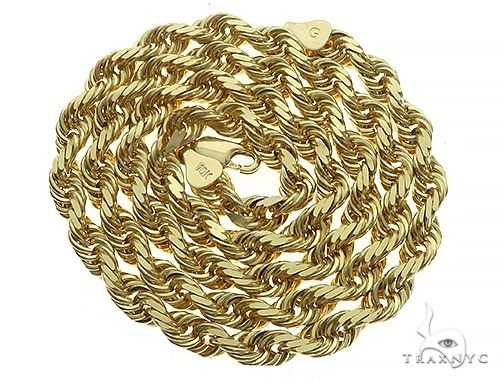 10K Yellow Gold Diamond Cut Solid Rope Chain 22 Inches 5mm 46 Grams K-8 65684 Gold