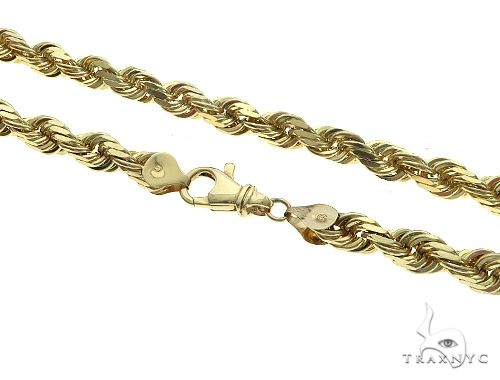 10K Yellow Gold Diamond Cut Solid Rope Chain 22 Inches 5.5mm 72 Grams K-3 65685 Gold