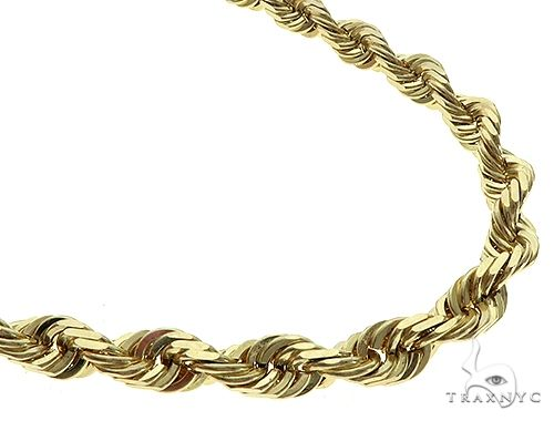 10K Yellow Gold Diamond Cut Solid Rope Chain 22 Inches 7mm 111 Grams K-4 65686 Gold