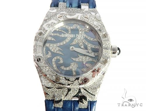Audemars Piguet Royal Oak Lady Oak Leaves 18K Solid White Gold Diamond Watch 65687 Diamond Watch Inactive
