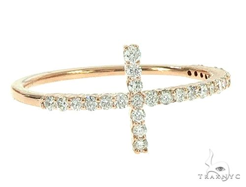 14K Rose Gold Diamond Cross Ring 65691 Anniversary/Fashion