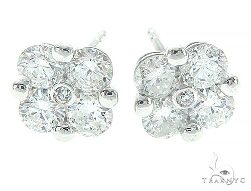 14K White Gold Diamond Flower Earrings 65692 Stone