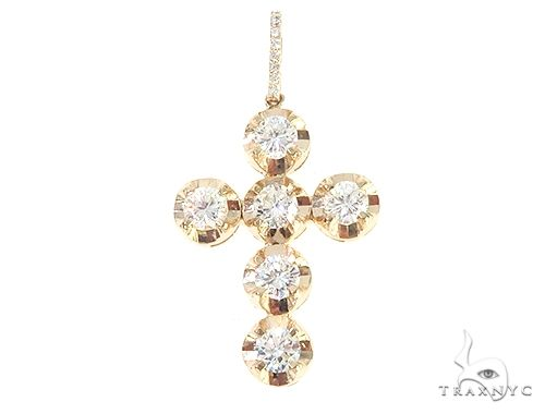 14K Yellow Gold Four Prong Diamond Cross Pendant 65705 Diamond Cross Pendants