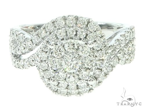 14K White Gold Diamond Round Cluster Halo Engagement Ring 65734 Engagement