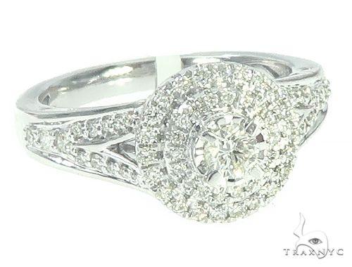 14K White Gold Diamond Round Cluster Halo Engagement Ring 65739 Engagement