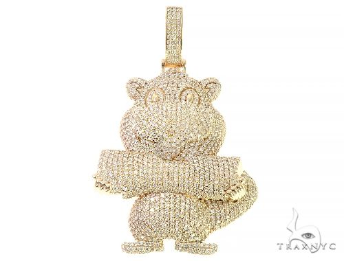 Custom Made Beaver Diamond Pendant 65746 Metal