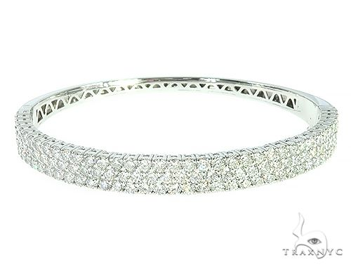 14K White Gold Three Row Diamond Fancy Bangle 65755 Diamond