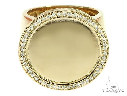 14K Yellow Gold Memorial Photo Ring 65760 Metal
