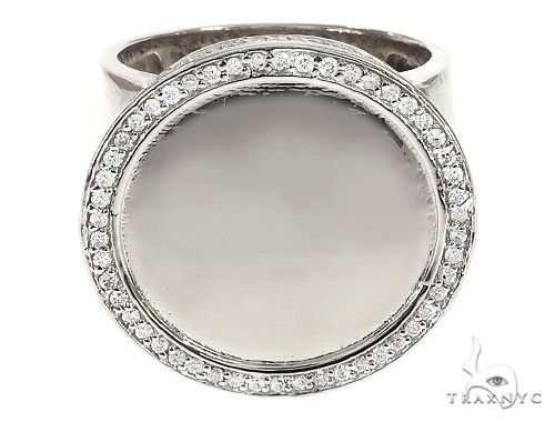 14K White Gold Memorial Photo Ring 65761 Metal
