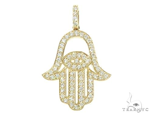 14K Yellow Gold Diamond Hamsa Pendant 65763 Stone