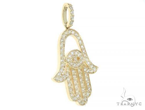 14K Yellow Gold Diamond Hamsa Pendant 65763 Stone