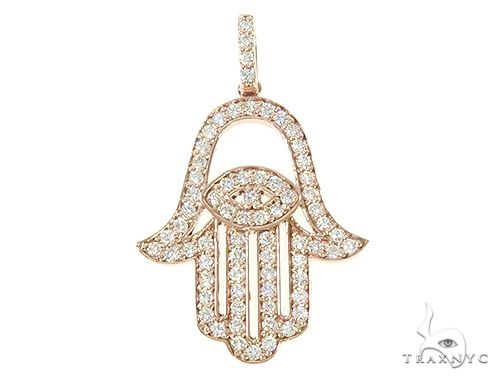 14K Rose Gold Diamond Hamsa Pendant 65764 Stone