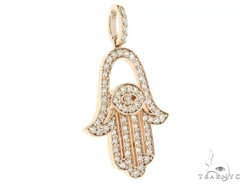 14K Rose Gold Diamond Hamsa Pendant 65764 Stone