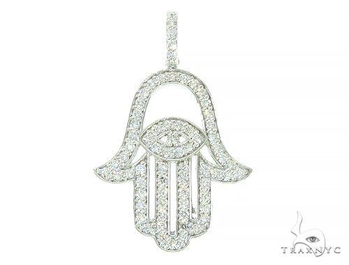 14K White Gold Diamond Hamsa Pendant 65765 Stone
