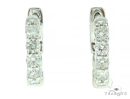 14K White Gold Prong Diamond Small Hoop Earring 65766 Style