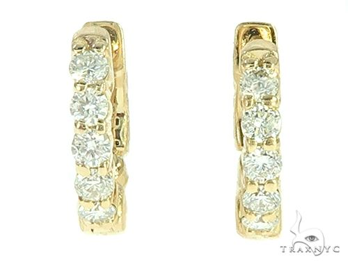 14K Yellow Gold Diamond Small Hoop Earring 65769 Style