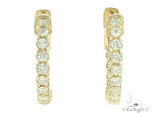 14K Yellow Gold Prong Diamond Small Hoop Earring 65770 Style