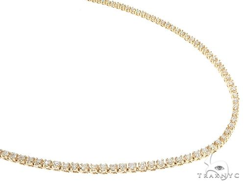 14K Yellow Gold Diamond Tennis Chain 22.5 Inches 2mm 6.42ct 21.10 Grams 65776 Diamond