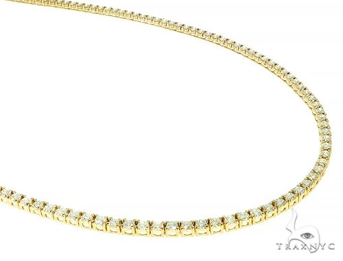 14K Yellow Gold Diamond Tennis Chain 24 Inches 2.5mm 9.98ct 19.60 Grams 65777 Diamond