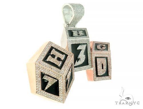 Custom Made Diamond 3 Blocks 730 Pendant 65784 Metal