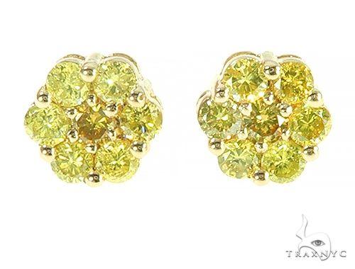 14K Yellow Gold Canary Flower Earrings 65785 Style