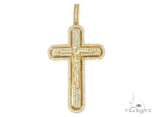 14K Solid Yellow Gold Cross Jesus Crucifix 65804 Diamond