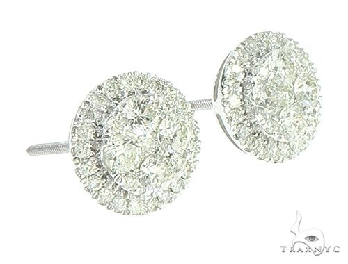 14K White Gold Diamond Cluster Stud Earrings 65806 Stone