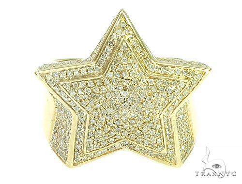 10K Yellow Gold Diamond Star Ring 65807 Stone
